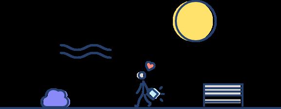 Splio illustration happy customer walking outside